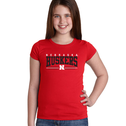 Nebraska Huskers Girls Tee Shirt - Nebraska Huskers Stripe N