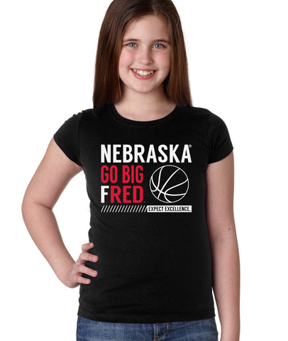 Nebraska Huskers Girls Tee Shirt - Nebraska Basketball - GO BIG FRED