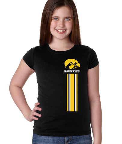 Iowa Hawkeyes Girls Tee Shirt - IOWA Hawkeyes Vertical Stripe with Tigerhawk