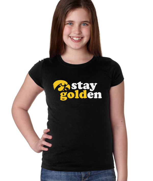 Iowa Hawkeyes Girls Tee Shirt - Hawkeyes Stay Golden
