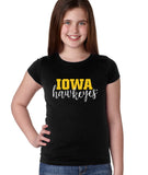 Iowa Hawkeyes Girls Tee Shirt - Iowa Script Hawkeyes