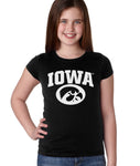 Iowa Hawkeyes Girls Tee Shirt - Arched IOWA with Tigerhawk Oval