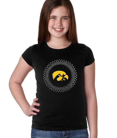 Iowa Hawkeyes Girls Tee Shirt - Circle Burst Rhinestones with Tigerhawk