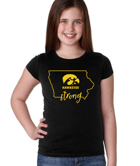 Iowa Hawkeyes Girls Tee Shirt - Hawkeyes Strong State Outline
