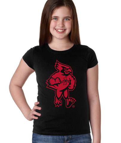 Iowa State Cyclones Girls Tee Shirt - Mascot Cy Full Body