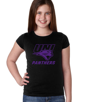 Northern Iowa Panthers Girls Tee Shirt - Purple UNI Panthers Logo on Black