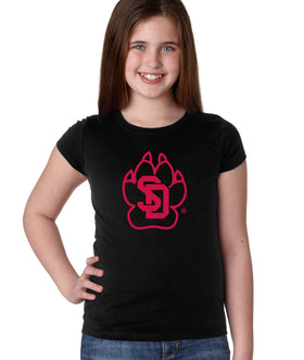 South Dakota Coyotes Girls Tee Shirt - SD Coyote Paw