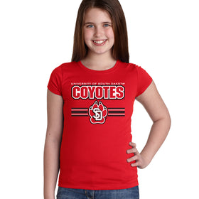 South Dakota Coyotes Girls Tee Shirt - USD Coyotes Stripe Paw Print