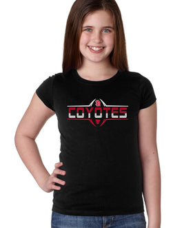 South Dakota Coyotes Girls Tee Shirt - Striped COYOTES Football Laces