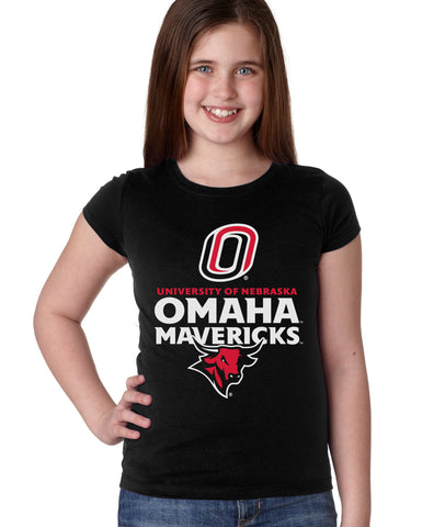 Omaha Mavericks Girls Tee Shirt - Omaha Mavericks with Bull and Primary Logo on Black