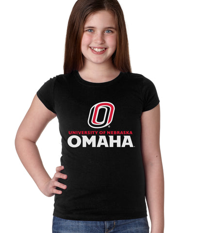 Omaha Mavericks Girls Tee Shirt - University of Nebraska Omaha with Primary Logo on Black