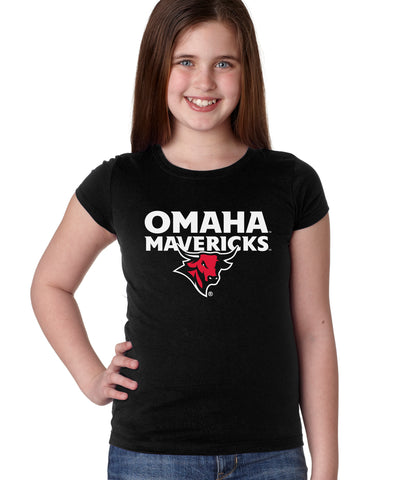 Omaha Mavericks Girls Tee Shirt - Omaha Mavericks with Bull on Black