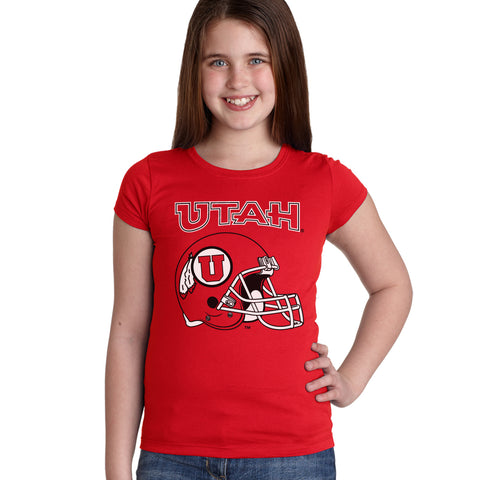 Utah Utes Girls Tee Shirt - Utah Utes Football Helmet
