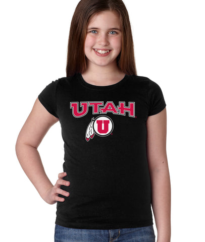 Utah Utes Girls Tee Shirt - Circle & Feather Logo