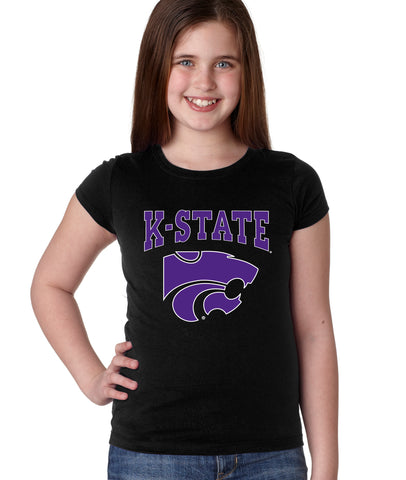K-State Wildcats Girls Tee Shirt - K-State Powercat with Outline