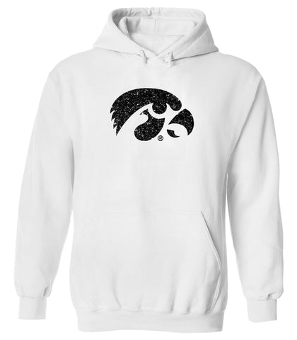 Women's Iowa Hawkeyes Hooded Sweatshirt - Tigerhawk Logo in Black Glitter