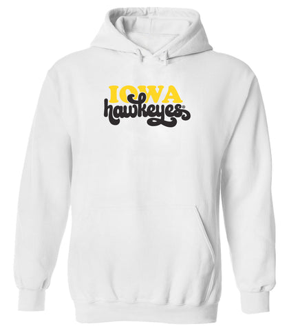 Women's Iowa Hawkeyes Hooded Sweatshirt - Retro Iowa Script Hawkeyes