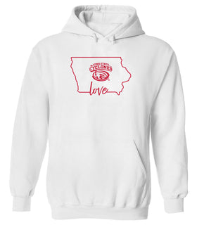 Women's Iowa State Cyclones Hooded Sweatshirt - Cyclones Love State Outline