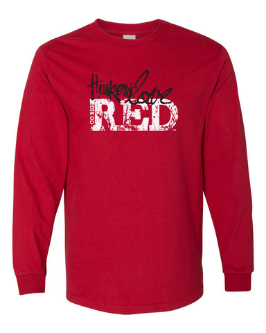 "Nebraska Cornhuskers ""Go Big Huskers Love Red"" Long Sleeve Tee Shirt"
