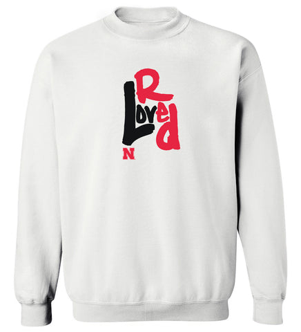Women's Nebraska Huskers Crewneck Sweatshirt - Love Red Overlap