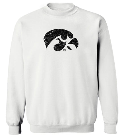 Women's Iowa Hawkeyes Crewneck Sweatshirt - Tigerhawk Logo in Black Glitter