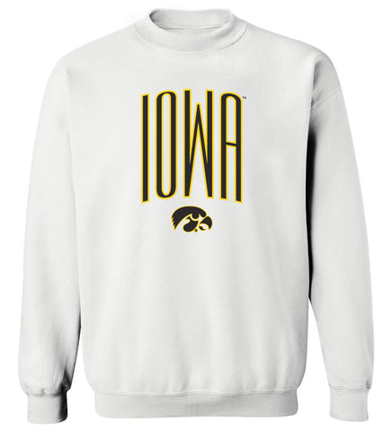 Women's Iowa Hawkeyes Crewneck Sweatshirt - IOWA Arc with Tigerhawk