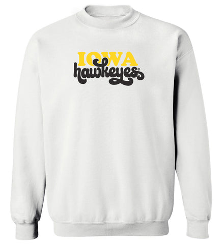 Women's Iowa Hawkeyes Crewneck Sweatshirt - Retro Iowa Script Hawkeyes