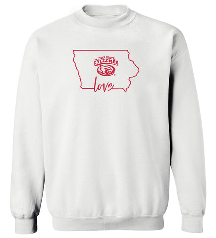 Women's Iowa State Cyclones Crewneck Sweatshirt - Cyclones Love State Outline