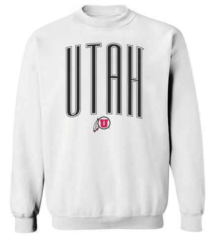 Women's Utah Utes Crewneck Sweatshirt - Giant Arc UTAH and Logo