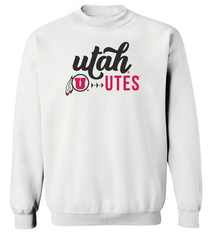 Women's Utah Utes Crewneck Sweatshirt - Script Lower Case Utah Utes