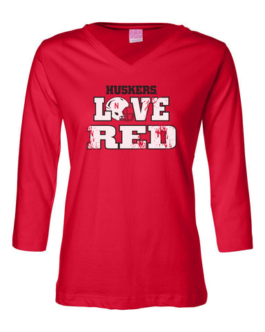 "Women's Nebraska Cornhuskers ""Huskers LOVE RED"" Helmet 3/4 Sleeve V-Neck Top"