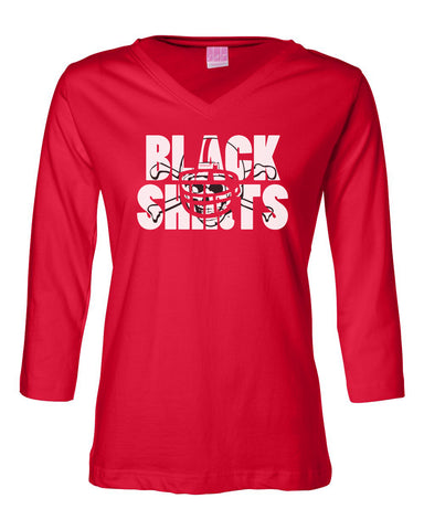 Women's Nebraska Cornhuskers Football BLACKSHIRTS on Red 3/4 Sleeve V-Neck Top