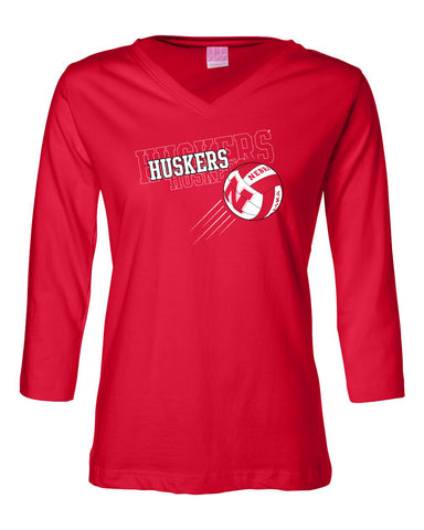 "Women's Nebraska Huskers Volleyball ""Huskers x 3"" 3/4 Sleeve V-Neck Top"