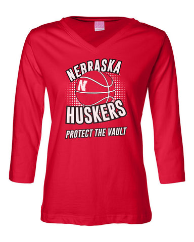 "Women's Nebraska Huskers Basketball ""Protect the Vault"" 3/4 Sleeve V-Neck Top"