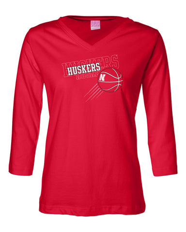 "Women's Nebraska Huskers Basketball ""Huskers x 3"" 3/4 Sleeve V-Neck Top"