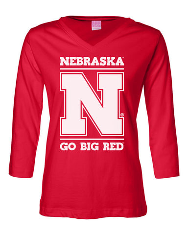 "Women's Nebraska Cornhuskers ""Nebraska N GO BIG RED"" 3/4 Sleeve V-Neck Top"
