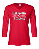 "Women's Nebraska Huskers Volleyball ""Dream Bigger"" 3/4 Sleeve V-Neck Top"
