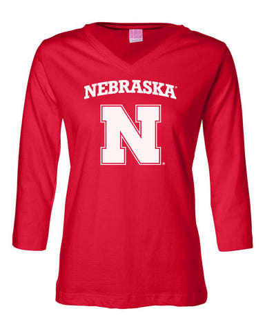 Women's Nebraska Cornhuskers Block N 3/4 Sleeve V-Neck Top