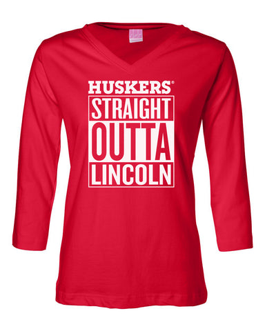 "Women's Nebraska ""HUSKERS STRAIGHT OUTTA LINCOLN"" 3/4 Sleeve V-Neck Top"