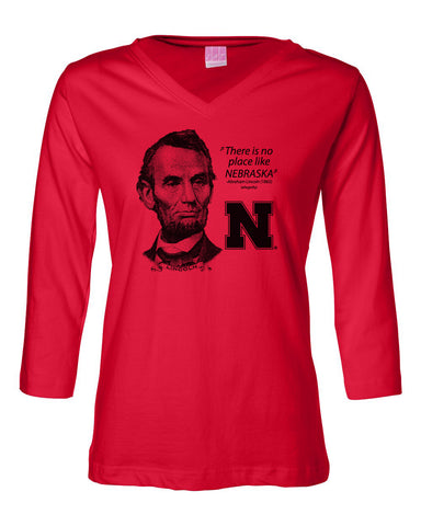 "Women's Abe Lincoln ""No place like NEBRASKA"" Huskers 3/4 Sleeve V-Neck Top"