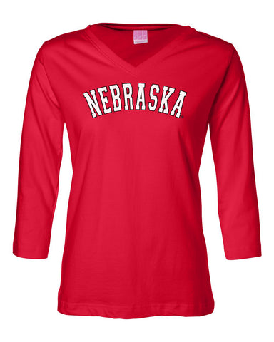 "Women's ""NEBRASKA"" Arch 3/4 Sleeve V-Neck Top"