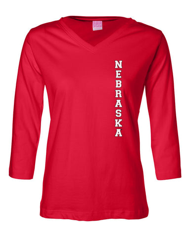 "Women's Vertical ""NEBRASKA"" 3/4 Sleeve V-Neck Top"