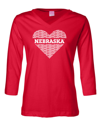 "Women's ""GO BIG RED"" NEBRASKA Heart 3/4 Sleeve V-Neck Top"