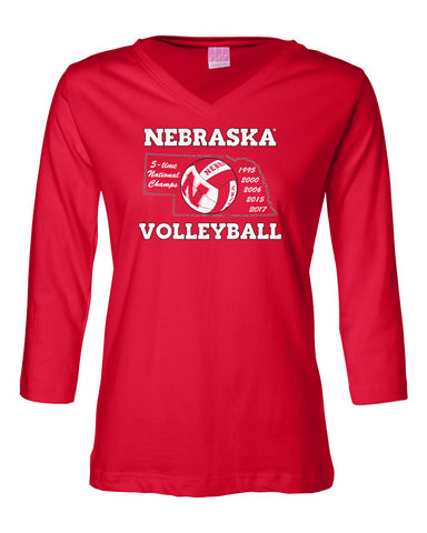 Women's Nebraska Volleyball 5-Time National Champions 3/4 Sleeve V-Neck Top