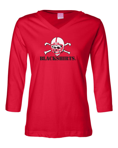 Women's 3/4 Sleeve V-Neck Nebraska Huskers Tee Shirt - Blackshirts Logo