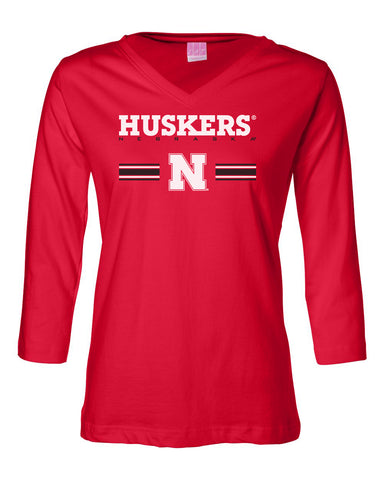 Women's Nebraska Husker Tee Shirt 3/4 Sleeve V-Neck - HUSKERS Stripe N