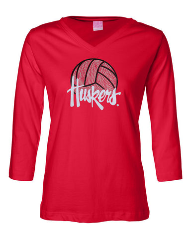 Women's Nebraska Husker Tee Shirt 3/4 Sleeve V-Neck - Huskers Volleyball With Glitter And Rhinestones