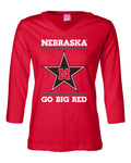 Women's Nebraska Husker Tee Shirt 3/4 Sleeve V-Neck - Star N GO BIG RED