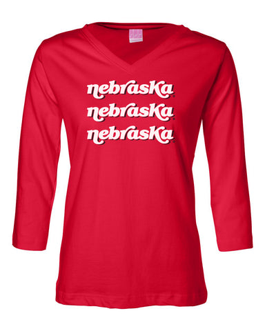 "Women's Nebraska Huskers ¾ Sleeve V-Neck Tee Shirt - ""nebraska"" x 3"