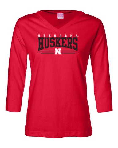 Women's Nebraska Huskers ¾ Sleeve V-Neck Tee Shirt - Nebraska Huskers Stripe N